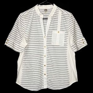Anne Klein Stripe Short Sleeve Shirt V Neck Large
